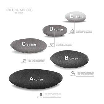 돌 요소와 정신 개념 infographic 템플릿 디자인