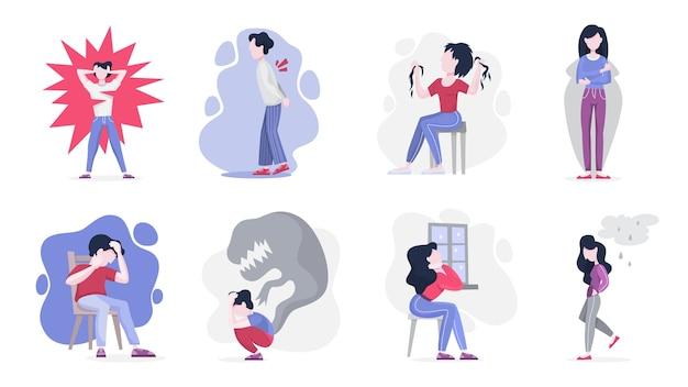 정신 장애 세트. 우울증으로 고통받는 사람들의 집합