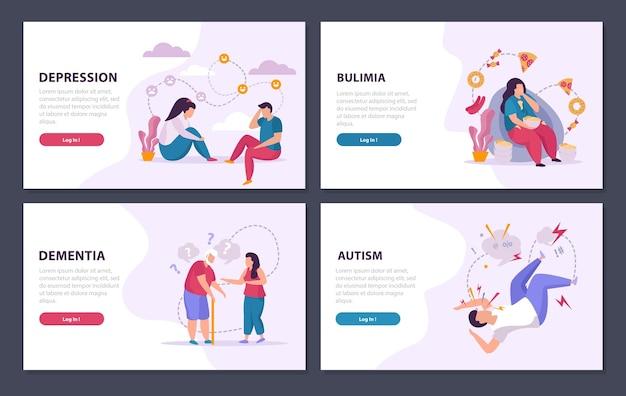 Психические расстройства 2x2 концепция дизайна баннера набор плоской иллюстрации