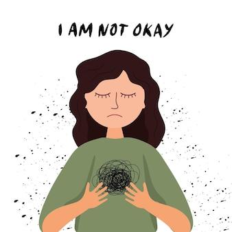 정신 건강 인식. 우울한 마음 상태에 있는 여성의 그림. 심리학 그림입니다. 만화 슬픔 소녀입니다. 난 별로야