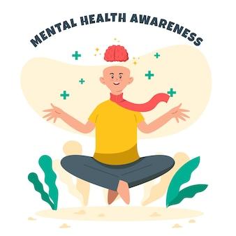 メンタルヘルスの認識がリラックスして瞑想する