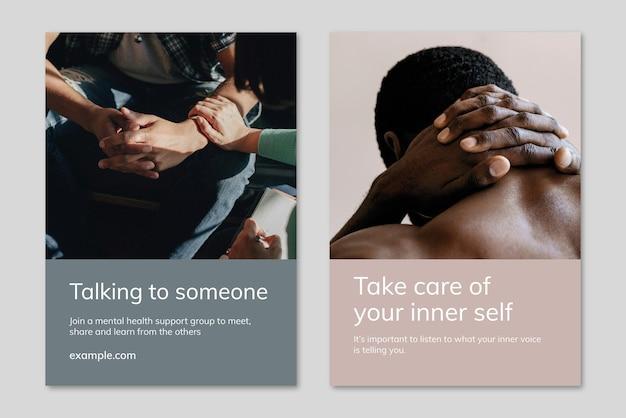 Vettore di modello di consapevolezza della salute mentale per gruppi di supporto e poster pubblicitario doppio set