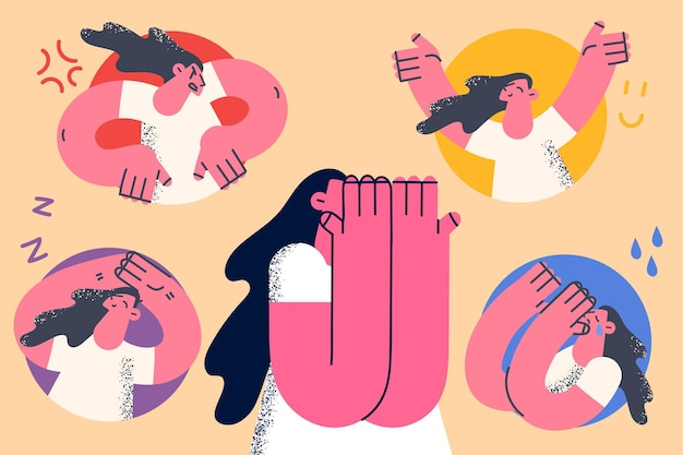 Mental health and bipolar disorder concept. young woman covering face with hands with various states of mood around from grief to happiness vector illustration