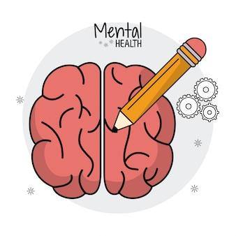 Mental health brain human pencil idea