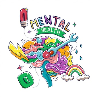 Mental health brain illustration