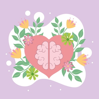 メンタルヘルス、心臓の漫画の脳