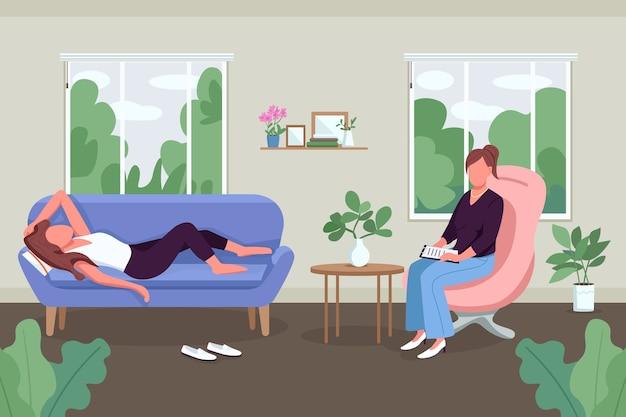 Плоский цвет психического здоровья. с клиенткой-женщиной работает профессиональный психотерапевт. эмоциональная поддержка. 2d мультяшные безликие персонажи с кабинетом на заднем плане