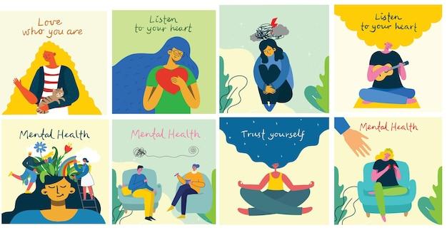 정신 건강 치료 벡터 일러스트 레이 션 개념입니다. 전문 의사는 심리 치료를 제공합니다. 사다리 디자인의 작은 사람들 캐릭터. 배너, 포스터 또는 미디어 소셜 인쇄.