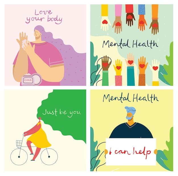 メンタルヘルスケア治療ベクトルイラストコンセプト。専門医が心理療法を行います。はしごのデザインで小さな人々のキャラクター。バナー、ポスター、またはメディアのソーシャル印刷。