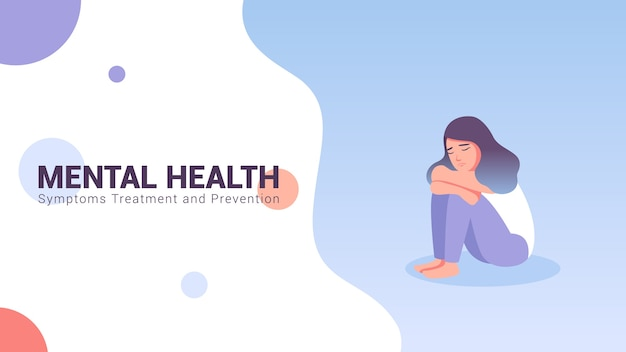 Mental health concept banner vector illustration