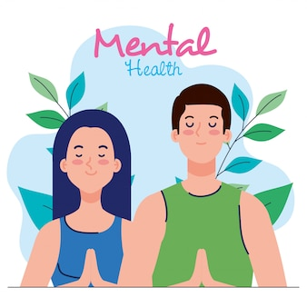 Mental health concept, couple with healthy mind, and leaves decoration illustration design