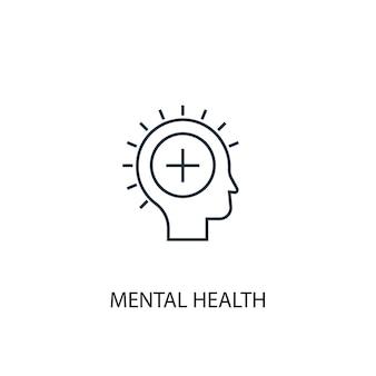 メンタルヘルスの概念線アイコン。シンプルな要素のイラスト。メンタルヘルスの概念の概要シンボルデザイン。 webおよびモバイルui / uxに使用できます