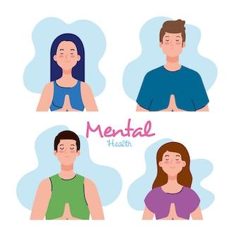 メンタルヘルスのコンセプト、健康な心のイラストデザインを持つ人々