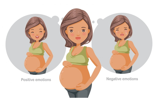 Mental health concept  for pregnant women.  suffering and happiness.
