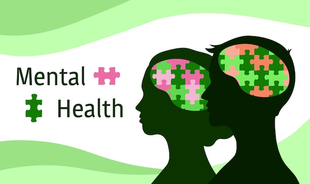 Mental health concept puzzle in brain of people woman and man female and male heads