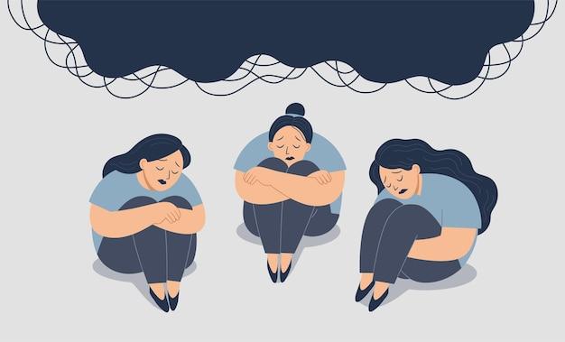 정신 건강 개념입니다. 슬픈 여자들이 바닥에 앉아 있다. 슬프고 절망적이다 우울증을 앓는다. 스트레스와 심리적 문제. 공황 공격 여성.