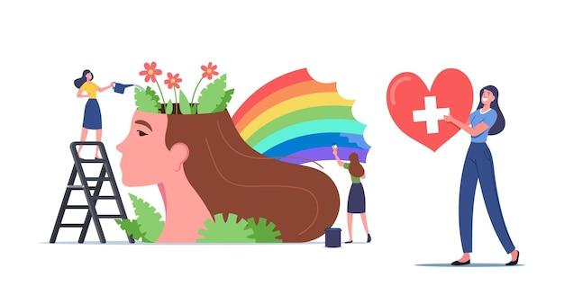 Концепция психического здоровья. крошечные женские персонажи поливают цветы и рисуют радугу на огромной женской голове. психологическая поддержка, здоровый дух, позитивное мышление. мультфильм люди векторные иллюстрации
