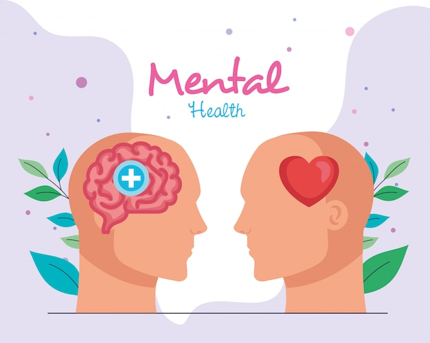 Mental health concept, with profiles human