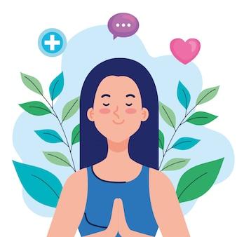 メンタルヘルスのコンセプト、心と健康的なアイコンイラストデザインを持つ女性