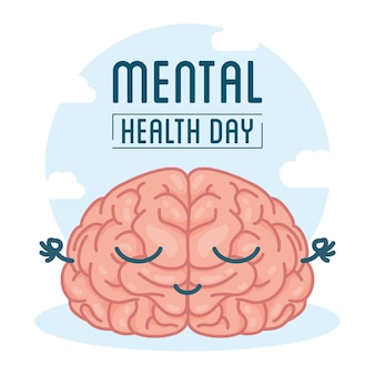 Mental health day card with brain comic character
