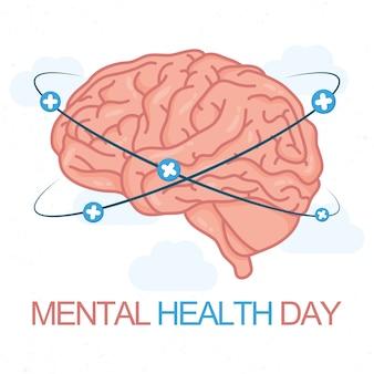 Mental health day card with brain human
