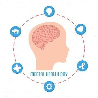 Карта дня психического здоровья с мозгом в профиле головы человека и набор значков