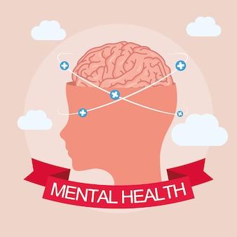 Карта дня психического здоровья с мозгом в профиль человека