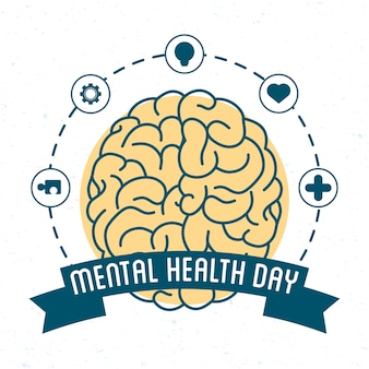 Mental health day card with brain and set icons around
