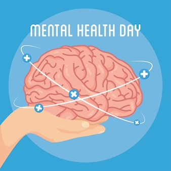 Mental health day card with hand lifting