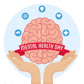 Mental health day card with hands lifting brain and set icons