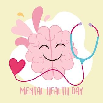 Mental health day, cartoon brain with stethoscope