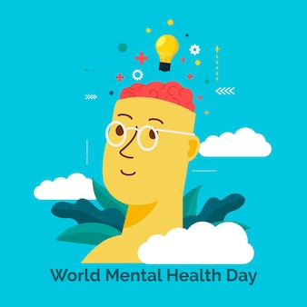 Mental health day celebration flat design