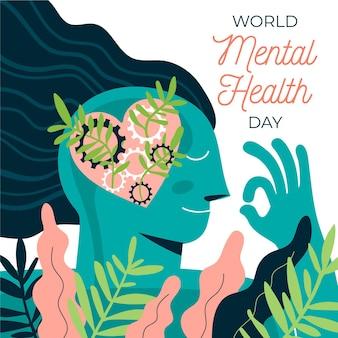 Mental health day event flat design