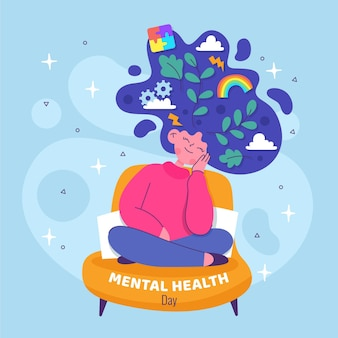 Mental health day flat design