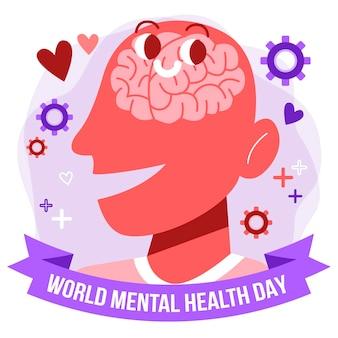Design piatto per la giornata della salute mentale