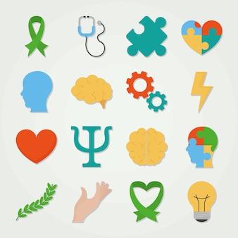 Набор иконок день психического здоровья