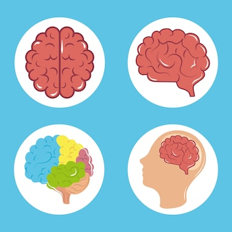 정신 건강의 날, 심리학 치료 인간의 두뇌 프로필, 블록 아이콘 그림