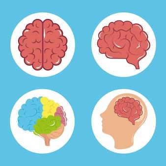 Mental health day, psychology medical treatment human brain profile, block icons illustration