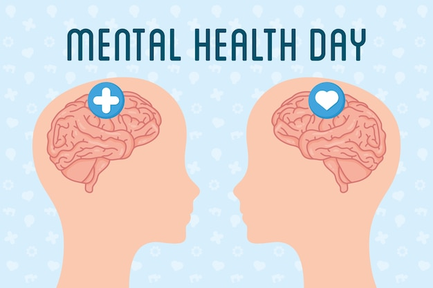 Mental health day text with brains in heads profiles