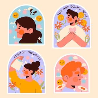 Набор иллюстраций плоский дизайн психического здоровья