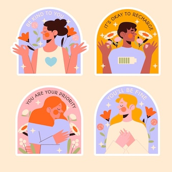 Mental health flat design illustration set