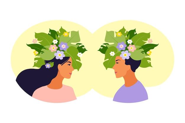 정신 건강, 행복, 조화 개념. 내부 꽃과 함께 행복 한 여성 및 남성 머리. 마음 챙김, 긍정적 인 생각, 자기 관리 아이디어.