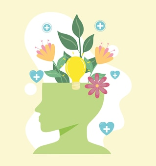 Mental health, human head with flowers