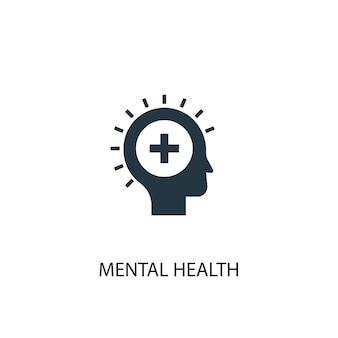 Значок психического здоровья. простая иллюстрация элемента. дизайн символа концепции психического здоровья. может использоваться в интернете и на мобильных устройствах.
