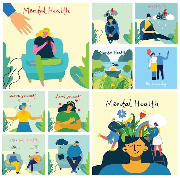 Mental health illustration concept. psychology visual interpretation of mental health in the flat design