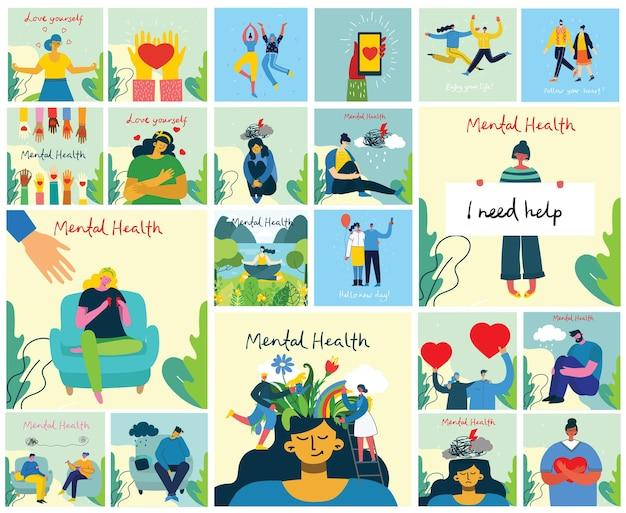 Концепция иллюстрации психического здоровья. психология визуальной интерпретации психического здоровья в плоском дизайне