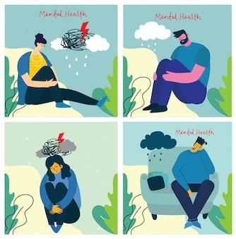 Концепция иллюстрации психического здоровья. молодой мужчина и женщина со штормом в голове. психология визуальной интерпретации психического здоровья.