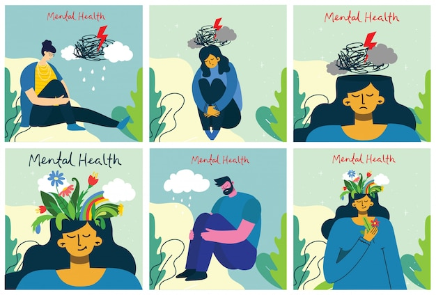 Mental health illustration concept. young man and woman with storm in head. psychology visual interpretation of mental health.