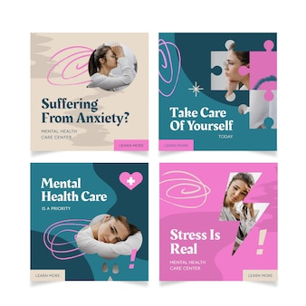 Mental health instagram posts collection with photo