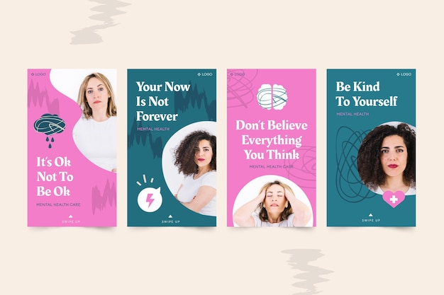 Mental health instagram stories collection with photo